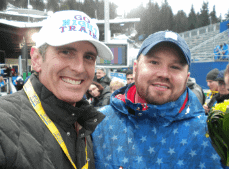 Dr. Brian with Steven Holcomb celebrating gold medal win
